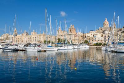 Boats moored in Grand Harbour marina at Birgu, Valletta, Malta, Mediterranean, Europe by Martin Child