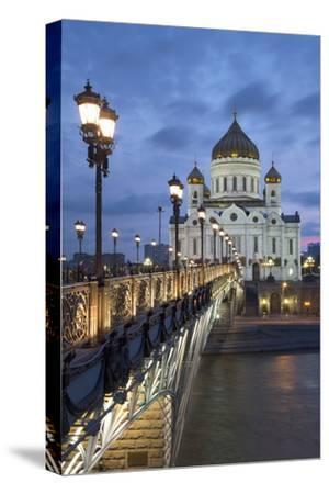 Bridge over the River Moscova and Cathedral of Christ the Redeemer at Night, Moscow, Russia, Europe