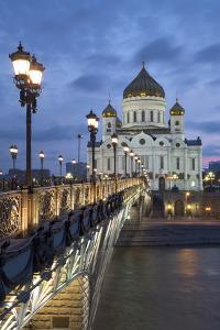 Bridge over the River Moscova and Cathedral of Christ the Redeemer at Night, Moscow, Russia, Europe by Martin Child