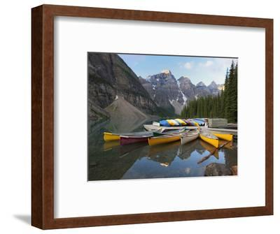 Canoes Moored on Moraine Lake, Banff National Park, UNESCO World Heritage Site, Alberta, Rocky Moun