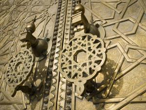 Detail of Bronze Door, Royal Palace, Fez El-Jedid, Fez, Morocco, North Africa, Africa by Martin Child