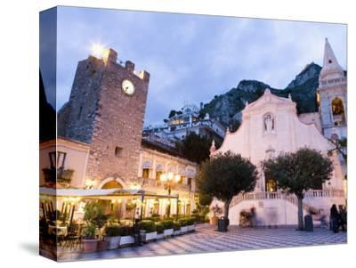 Evening, Piazza Ix Aprile, Torre Dell Orologio, Church of San Giuseppe, Taormina, Sicily, Italy