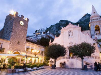 Evening, Piazza Ix Aprile, Torre Dell Orologio, Church of San Giuseppe, Taormina, Sicily, Italy