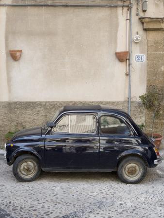 Fiat 500 Car, Cefalu, Sicily, Italy, Europe