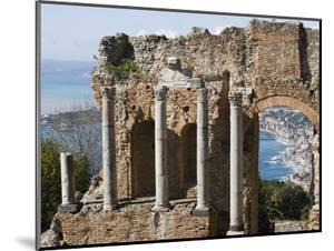 Greek Theatre, View of Giardini Naxos, Taormina, Sicily, Italy, Mediterranean, Europe by Martin Child