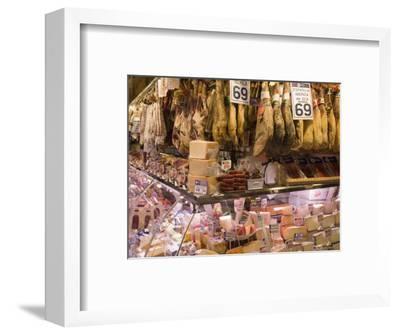 Hams, Jamon and Cheese Stall, La Boqueria, Market, Barcelona, Catalonia, Spain, Europe