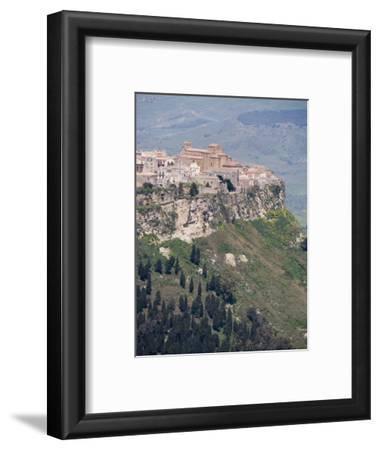 Hilltown of Calascibetta Viewed from Enna, Sicily, Italy, Europe