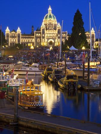 Inner Harbour with Parliament Building at Night, Victoria, Vancouver Island, British Columbia, Cana