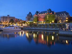 Inner Harbour with the Empress Hotel at Night, Victoria, Vancouver Island, British Columbia, Canada by Martin Child