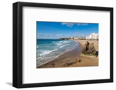Large Rock on the Beach and Seafront in Biarritz, Pyrenees Atlantiques, Aquitaine, France, Europe