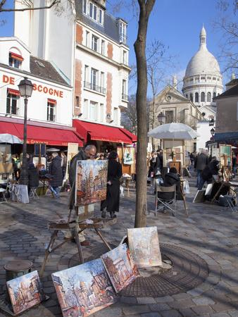 Paintings for Sale in the Place Du Tertre with Sacre Coeur Basilica in Distance, Montmartre, Paris,