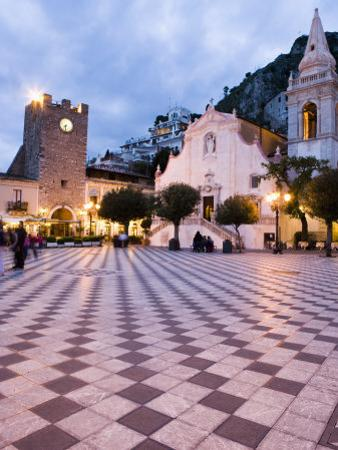 Piazza Ix Aprile, with the Torre Dell Orologio and San Giuseppe Church, Taormina, Sicily, Italy