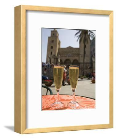 Prosecco Wine on Cafe Table, Cathedral Behind, Piazza Duomo, Cefalu, Sicily, Italy, Europe