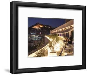 Rooftop Terrace Bar at the Athens Hilton with Lykavittos Hill Illuminated at Night, Athens, Greece, by Martin Child