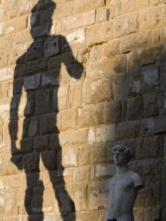 Shadow of Statue of David, Piazza Della Signoria, Florence, Tuscany, Italy, Europe