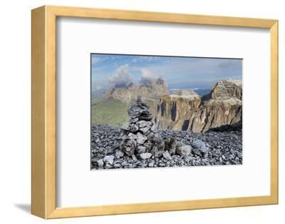 Stone Cairn on Sass Pordoi Mountain in the Dolomites Near Canazei