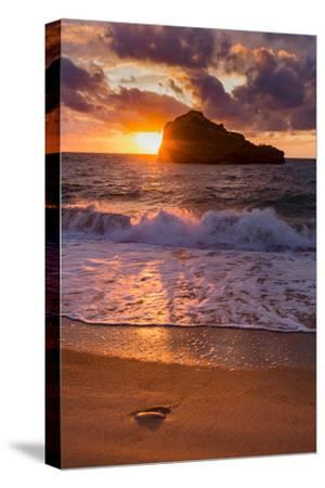 Sunset over Roche Ronde Rock Off the Coast of Biarritz, Pyrenees Atlantiques, Aquitaine
