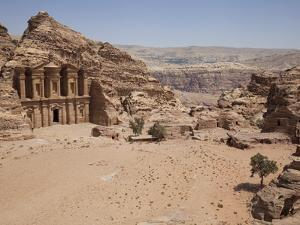 The Facade of the Monastery Carved into the Red Rock at Petra, UNESCO World Heritage Site, Jordan,  by Martin Child