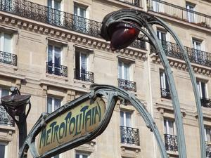 Traditional Parisian Metro Sign, Paris, France, Europe by Martin Child