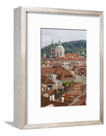 View of Rooftops, Church of St. Nicholas Dome, Little Quarter, Prague, Czech Republic, Europe