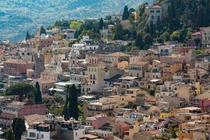 View of the Hill Town of Taormina, Sicily, Italy, Mediterranean, Europe by Martin Child