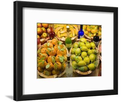 Window Display of Traditional Marzipan Fruits and Grappa, Taormina, Sicily, Italy, Europe