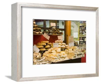 Window Display of Traditional Torrone, Cakes and Pastries, Taormina, Sicily, Italy, Europe