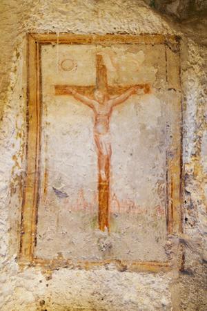 Crucifix Fresco in a Cave Church in the Sassi Area of Matera, Basilicata, Italy, Europe by Martin