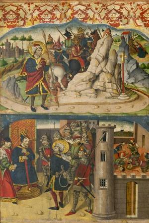 Saint Christopher Meets Satan, Saint Christopher before the King of Lycia, 1480-85
