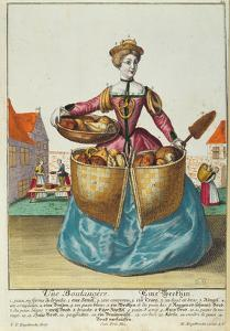 A Baker, C.1735 (Coloured Engraving) by Martin Engelbrecht