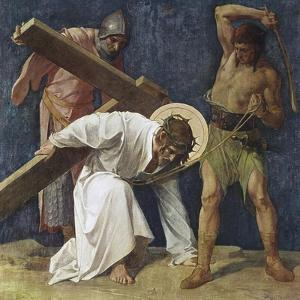 Jesus Falls the First Time (3rd Station of the Cross) 1898 by Martin Feuerstein
