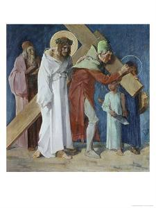 Simon of Cyrene Helps Jesus 5th Station of the Cross by Martin Feuerstein