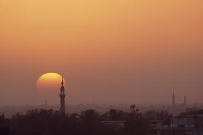 Minarets and the sun setting over Khartoum.