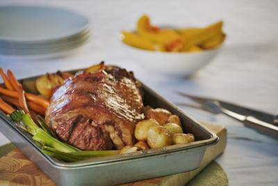 Roast Lamb Dinner in Roasting Pan
