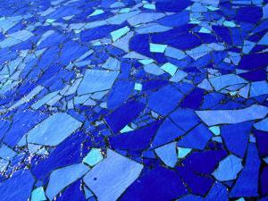 Blue-Glass Mosaic with Water Flowing Over Surface, Helsingborg, Skane, Sweden by Martin Llad??