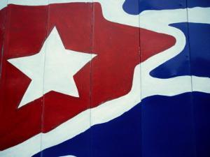 Cuban Flag Painted on Wall, Varadero, Matanzas, Cuba by Martin Llad??