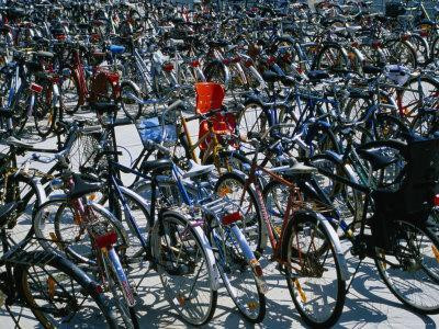 Bicycles Parked Next to Central Railway Station, Malmo, Skane, Sweden