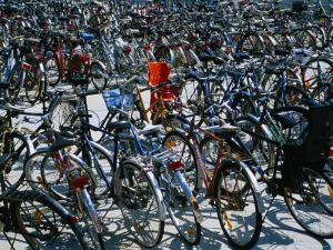 Bicycles Parked Next to Central Railway Station, Malmo, Skane, Sweden by Martin Lladó