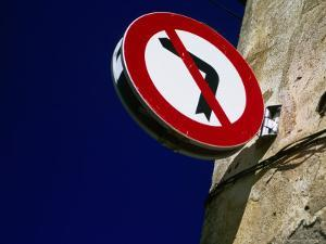 No Left Turn Sign, Roses, Catalonia, Spain by Martin Lladó