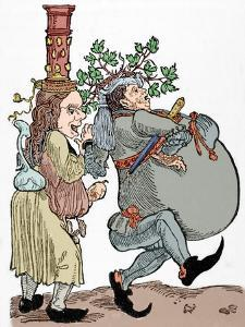 Martin Luther (1483-1546) and His Wife Katharina Von Bora (1499-1552). Caricature. Coloured