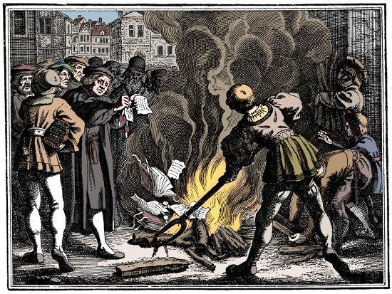 Martin Luther burning the Papal Bull, 1520-Unknown-Giclee Print