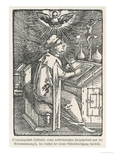 Martin Luther Depicted While Translating the Bible During His Seclusion at the Wartburg--Giclee Print