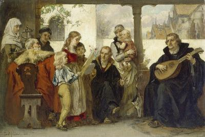 Martin Luther Im Kreise Seiner Familie Musizierend (Mit Cranach Und Melanchthon)-Ernst Hildebrandt-Giclee Print