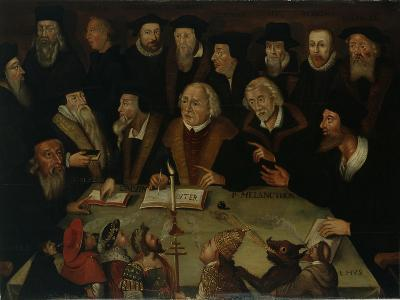 Martin Luther in the Circle of Reformers, 1625-50-German School-Giclee Print