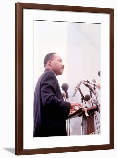 Martin Luther King, American Priest Activist for Civil Right Movement Black Americans Here C. 1965--Framed Photo
