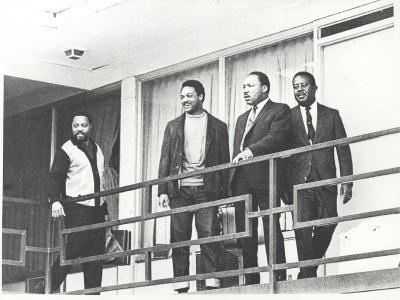 Martin Luther King Standing on the Balcony of the Memphis Hotel--Photographic Print