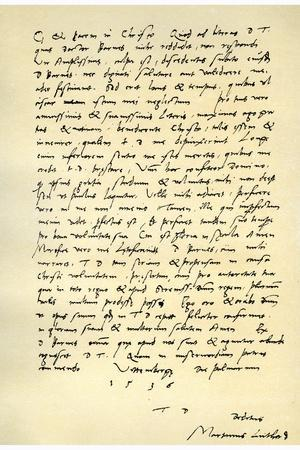 Letter from Martin Luther to Thomas Cromwell, 9th April 1536