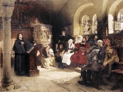 Martin Luther Preaches in Wartburg-Hugo Vogel-Giclee Print