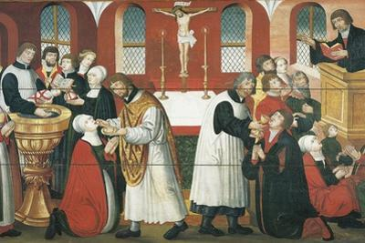 Martin Luther Preaching, Detail from the Altarpiece of the Church of Torslunde, 1561