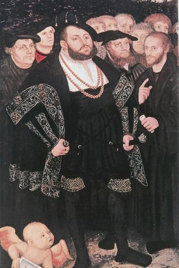 Martin Luther with Reformers, C1530-Lucas Cranach the Elder-Giclee Print